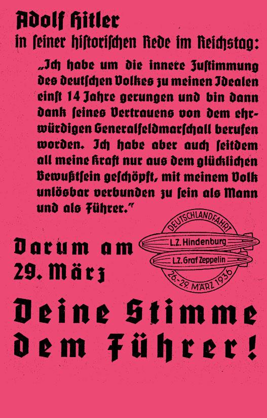 NS-Flugblatt zur Reichstagswahl 1936