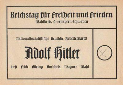 Wahlzettel Reichstagswahl 1936